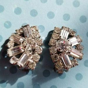 Vintage diamante clip earrings rhinestone silver